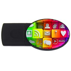 Colorful 3d Social Media Usb Flash Drive Oval (2 Gb) by BangZart
