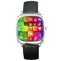Colorful 3d Social Media Square Metal Watch