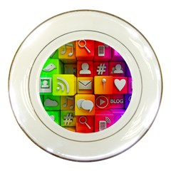 Colorful 3d Social Media Porcelain Plates by BangZart