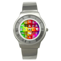 Colorful 3d Social Media Stainless Steel Watch by BangZart