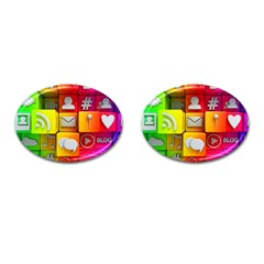 Colorful 3d Social Media Cufflinks (oval)