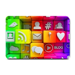 Colorful 3d Social Media Small Doormat  by BangZart