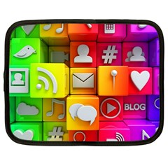 Colorful 3d Social Media Netbook Case (large) by BangZart