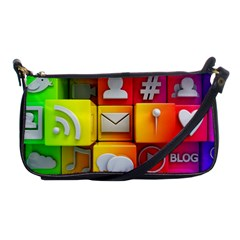 Colorful 3d Social Media Shoulder Clutch Bags by BangZart