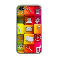 Colorful 3d Social Media Apple Iphone 4 Case (clear) by BangZart