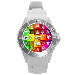 Colorful 3d Social Media Round Plastic Sport Watch (l) by BangZart