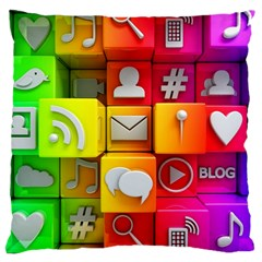 Colorful 3d Social Media Large Cushion Case (two Sides) by BangZart