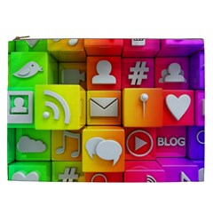 Colorful 3d Social Media Cosmetic Bag (xxl)