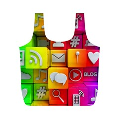 Colorful 3d Social Media Full Print Recycle Bags (m)  by BangZart