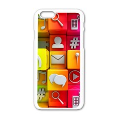 Colorful 3d Social Media Apple Iphone 6/6s White Enamel Case
