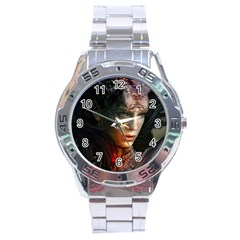 Digital Fantasy Girl Art Stainless Steel Analogue Watch