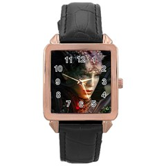 Digital Fantasy Girl Art Rose Gold Leather Watch