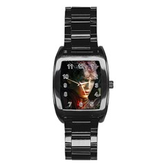 Digital Fantasy Girl Art Stainless Steel Barrel Watch