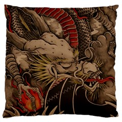 Chinese Dragon Large Flano Cushion Case (one Side)