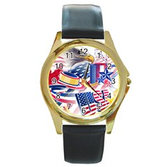 United States Of America Usa  Images Independence Day Round Gold Metal Watch