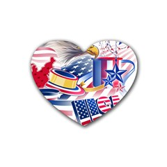 United States Of America Usa  Images Independence Day Heart Coaster (4 Pack)