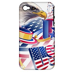 United States Of America Usa  Images Independence Day Apple Iphone 4/4s Hardshell Case (pc+silicone)