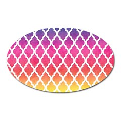 Colorful Rainbow Moroccan Pattern Oval Magnet by BangZart