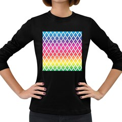 Colorful Rainbow Moroccan Pattern Women s Long Sleeve Dark T Shirts