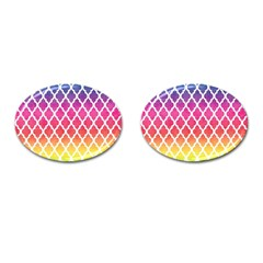 Colorful Rainbow Moroccan Pattern Cufflinks (oval) by BangZart
