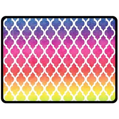 Colorful Rainbow Moroccan Pattern Double Sided Fleece Blanket (large)