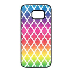 Colorful Rainbow Moroccan Pattern Samsung Galaxy S7 Edge Black Seamless Case