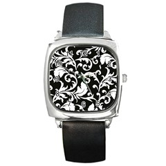 Vector Classicaltr Aditional Black And White Floral Patterns Square Metal Watch