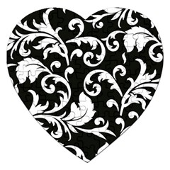 Vector Classicaltr Aditional Black And White Floral Patterns Jigsaw Puzzle (heart) by BangZart
