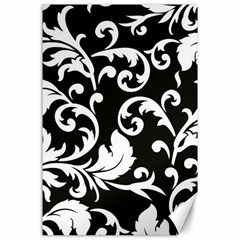 Vector Classicaltr Aditional Black And White Floral Patterns Canvas 24  X 36  by BangZart