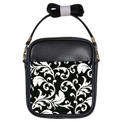 Vector Classicaltr Aditional Black And White Floral Patterns Girls Sling Bags by BangZart
