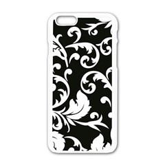 Vector Classicaltr Aditional Black And White Floral Patterns Apple Iphone 6/6s White Enamel Case by BangZart