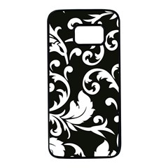 Vector Classicaltr Aditional Black And White Floral Patterns Samsung Galaxy S7 Black Seamless Case