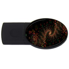 Multicolor Fractals Digital Art Design Usb Flash Drive Oval (4 Gb)