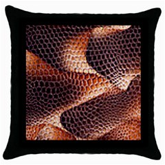 Snake Python Skin Pattern Throw Pillow Case (black)