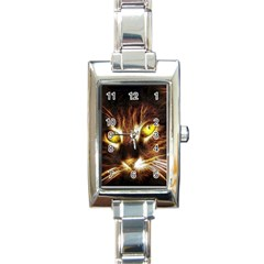 Cat Face Rectangle Italian Charm Watch
