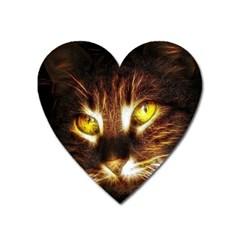 Cat Face Heart Magnet by BangZart
