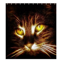 Cat Face Shower Curtain 66  X 72  (large)  by BangZart