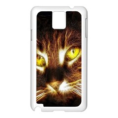 Cat Face Samsung Galaxy Note 3 N9005 Case (white) by BangZart