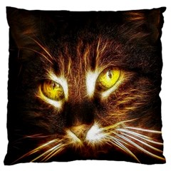 Cat Face Large Flano Cushion Case (one Side) by BangZart