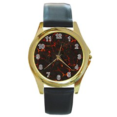 Volcanic Textures Round Gold Metal Watch
