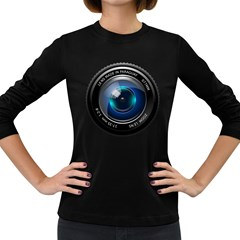 Camera Lens Prime Photography Women s Long Sleeve Dark T Shirts
