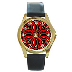 Traditional Art Pattern Round Gold Metal Watch by BangZart