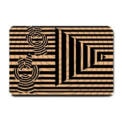Wooden Pause Play Paws Abstract Oparton Line Roulette Spin Small Doormat  by BangZart