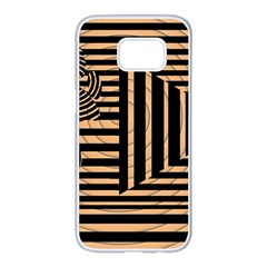 Wooden Pause Play Paws Abstract Oparton Line Roulette Spin Samsung Galaxy S7 Edge White Seamless Case by BangZart