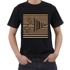 Wooden Pause Play Paws Abstract Oparton Line Roulette Spin Men s T Shirt (black) by BangZart