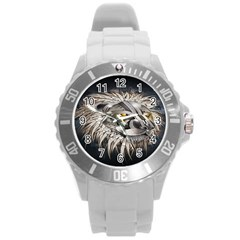 Lion Robot Round Plastic Sport Watch (l) by BangZart