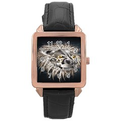 Lion Robot Rose Gold Leather Watch  by BangZart