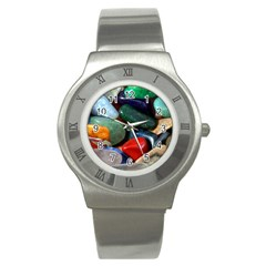 Stones Colors Pattern Pebbles Macro Rocks Stainless Steel Watch