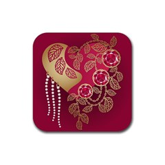Love Heart Rubber Coaster (square)