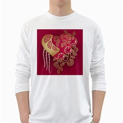 Love Heart White Long Sleeve T Shirts by BangZart